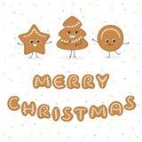 Galletas divertidas del pan de jengibre de la Feliz Navidad libre illustration