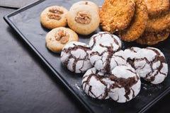 Galletas dulces con el chocolate Fotografía de archivo