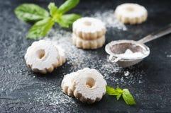 Galletas dulces hechas en casa con la menta Fotos de archivo libres de regalías