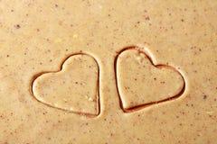 Galletas en forma de corazón de la tarjeta del día de San Valentín del St. Fotografía de archivo libre de regalías