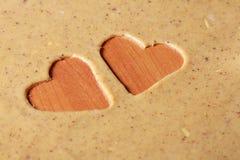 Galletas en forma de corazón de la tarjeta del día de San Valentín del St. Foto de archivo libre de regalías