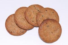 Galletas enteras de la harina de trigo de los granos fotografía de archivo