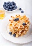 Galletas frescas con los arándanos, mesa de desayuno del jarabe de arce Fotos de archivo libres de regalías
