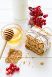 Galletas hechas en casa de la avena con la miel, las pasas rojas, el yogur y la leche Foco selectivo Fotografía de archivo