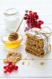 Galletas hechas en casa de la avena con la miel, las pasas rojas, el yogur y la leche Foco selectivo Imagen de archivo libre de regalías
