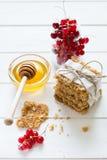 Galletas hechas en casa de la avena con la miel, las pasas rojas, el yogur y la leche Foco selectivo Fotografía de archivo libre de regalías