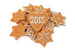 Galletas hechas en casa del Año Nuevo - número 2015 Imagen de archivo libre de regalías