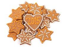 Galletas hechas en casa del Año Nuevo - número 2015 Fotografía de archivo