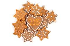 Galletas hechas en casa del Año Nuevo - número 2015 Imagenes de archivo