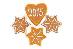 Galletas hechas en casa del Año Nuevo - número 2015 Fotos de archivo