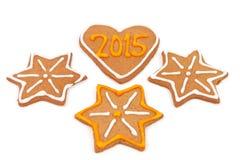 Galletas hechas en casa del Año Nuevo - número 2015 Foto de archivo