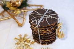 Galletas hechas en casa del chocolate de la Navidad Fotografía de archivo