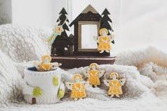 Galletas hechas en casa del día de fiesta - pan de jengibre Imagen de archivo