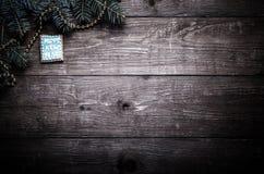 Galletas hechas en casa del pan de jengibre con el branc de la formación de hielo y del árbol de navidad Fotografía de archivo libre de regalías