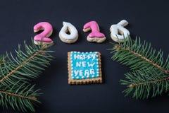 Galletas hechas en casa del pan de jengibre con el branc de la formación de hielo y del árbol de navidad Imagen de archivo