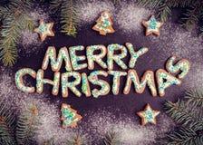 Galletas hechas en casa del pan de jengibre de la Navidad Fotografía de archivo libre de regalías