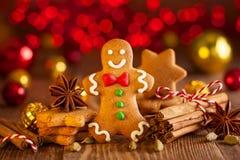 Galletas hechas en casa a del pan de jengibre de la Navidad fotografía de archivo