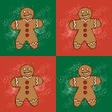 Galletas hechas en casa del pan de jengibre de la Navidad Modelo con el hombre de pan de jengibre Ejemplo para el diseño del menú libre illustration