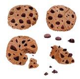 Galletas hechas en casa drowing del chocolate de la acuarela de la mano stock de ilustración