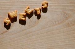 Galletas Letras comestibles Foto de archivo