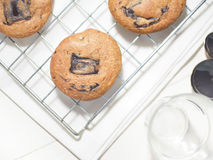Galletas suaves de la lava del chocolate Imagen de archivo