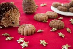 Galletas tradicionales del mazapán de la Navidad con el chocolate ` del Año Nuevo Imagen de archivo libre de regalías