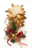 Galletas y árbol de navidad de la estrella Foto de archivo