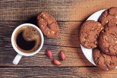 Galletas y café del chocolate Fotografía de archivo libre de regalías
