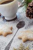 Galletas y café para Santa Claus Fotografía de archivo