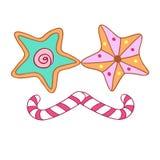 Galletas y caramelo Foto de archivo libre de regalías