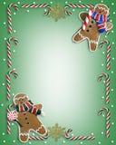 Galletas y caramelo de la frontera de la Navidad Imagen de archivo