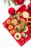 Galletas y decoraciones de la Navidad Imagen de archivo