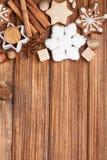 Galletas y especia hechas en casa de la Navidad Foto de archivo libre de regalías