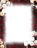 Galletas y frontera de la tela escocesa en blanco Foto de archivo