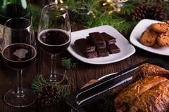 Galletas y galletas dulces del chocolate de los postres por días de fiesta: la Navidad, acción de gracias, la Noche Vieja Imagen de archivo