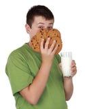 Galletas y leche adolescentes de la explotación agrícola Foto de archivo