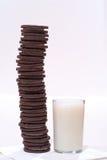 Galletas y leche del chocolate Imágenes de archivo libres de regalías