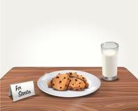Galletas y leche del vector para Santa Claus en la tabla Imágenes de archivo libres de regalías