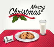 Galletas y leche para Santa Imagenes de archivo