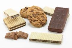 Galletas y obleas del chocolate Imágenes de archivo libres de regalías