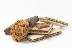 Galletas y obleas del chocolate Fotografía de archivo libre de regalías