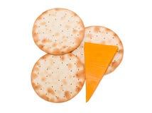 Galletas y queso Imagen de archivo libre de regalías