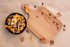Galletto commestibile, porcino e taglio dei funghi del bordo di legno Immagini Stock Libere da Diritti