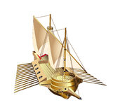 Galley. Vectorial image of galley - flat ship with one or more sails and up to three banks of oars, chiefly used for warfare, trade, and piracy. File contains Royalty Free Stock Photography
