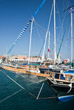 Galley in the harbour of Rhodes Stock Photography