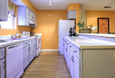Galley style kitchen in need of remodel Royalty Free Stock Images