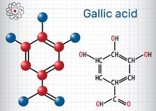 Gallic acid trihydroxybenzoic acid molecule, is phenolic acid. Sheet of paper in a cage Stock Photos
