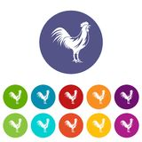 Gallic rooster set icons Stock Images
