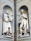 Gallileo Galilei and Pier Antonio Micheli Statues, Ufizzi Gallery, Florence, Italy. Gallileo Galilei and Pier Antonio Michelii, a Great Florentines, statues on stock image