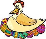 Gallina che cova l'illustrazione del fumetto delle uova di Pasqua Fotografia Stock